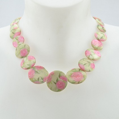 Pale Green/Rose Flat Beaded Floral Necklace
